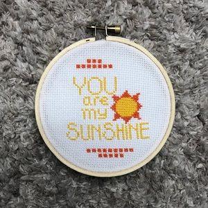 Handmade You are my sunshine cross stitch